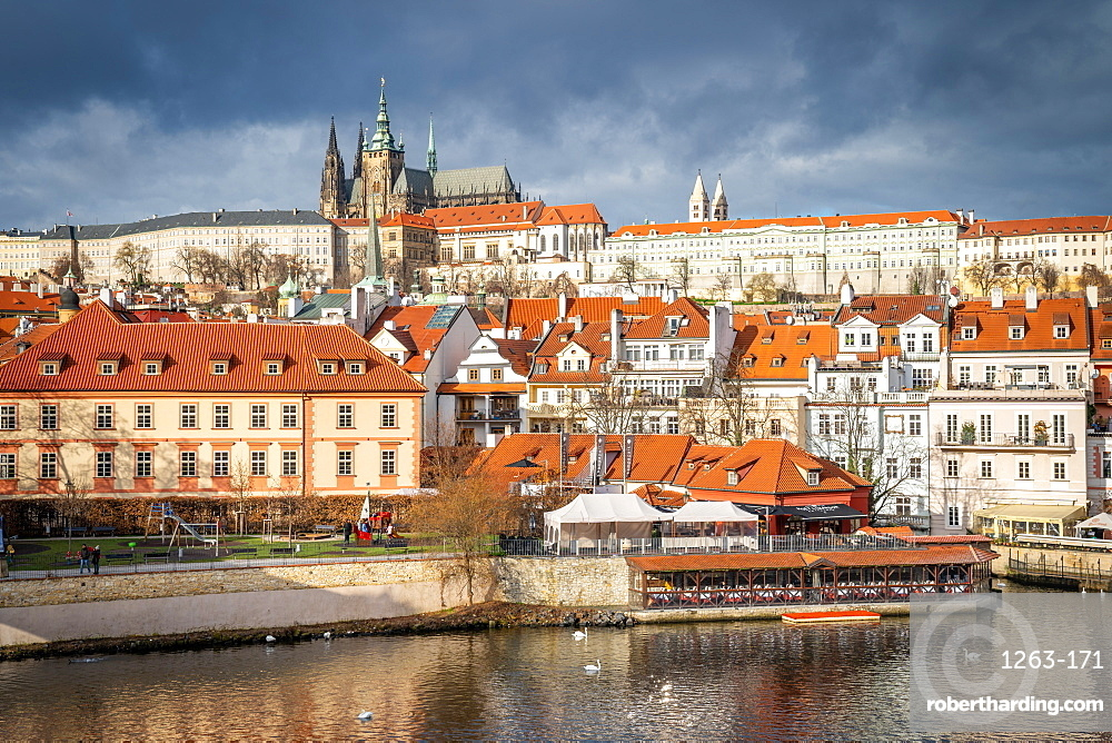 St. Vitus Cathedral and Prague Castle viewed from Charles Bridge.