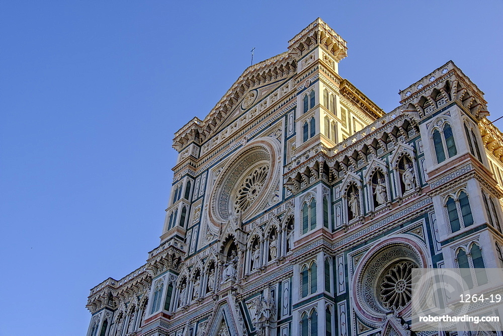 Santa Maria del Fiore cathedral at sunrise, UNESCO World Heritage Site, Florence, Tuscany, Italy, Europe
