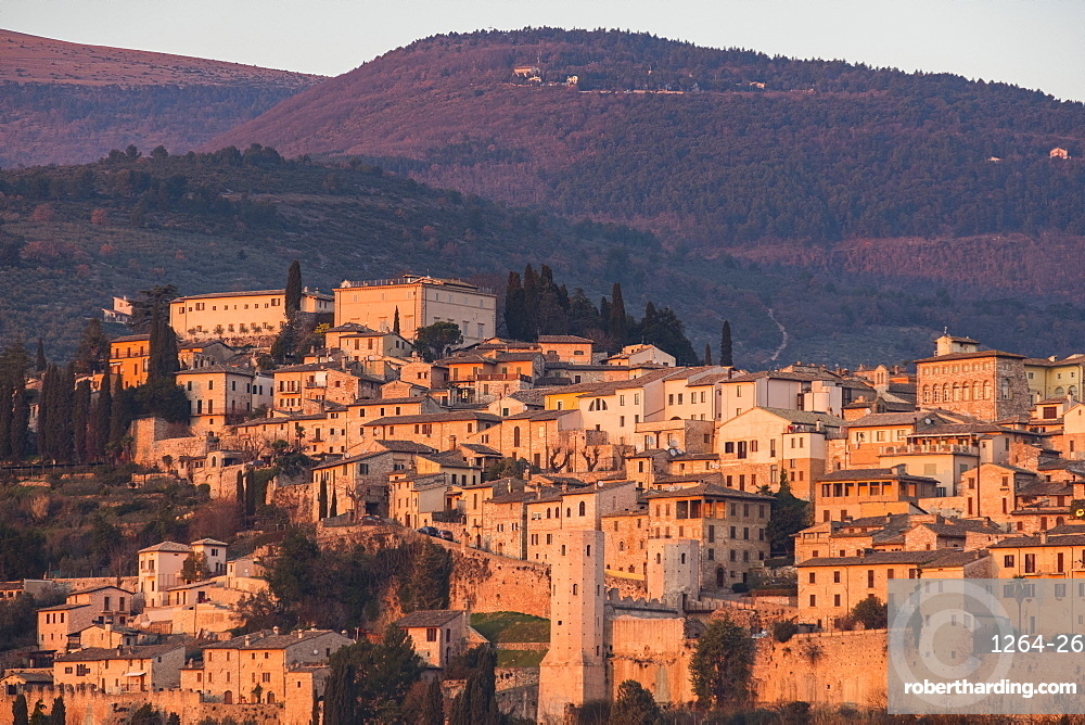 Sunset on the old town, Spello, Umbria, Italy, Europe