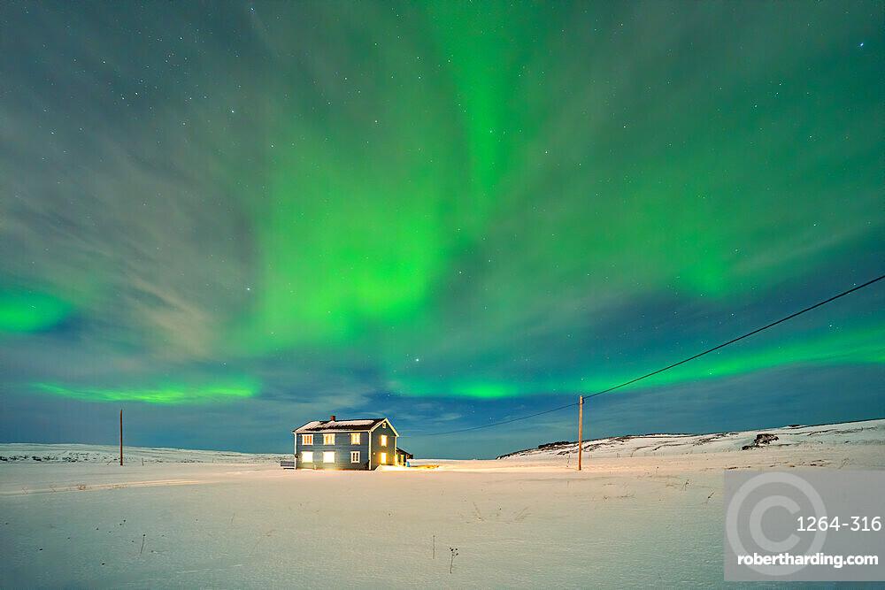 Blue house and Aurora Borealis (Northern Lights), Kongsfjord, Veidnes, Finnmark, Norway, Scandinavia, Europe