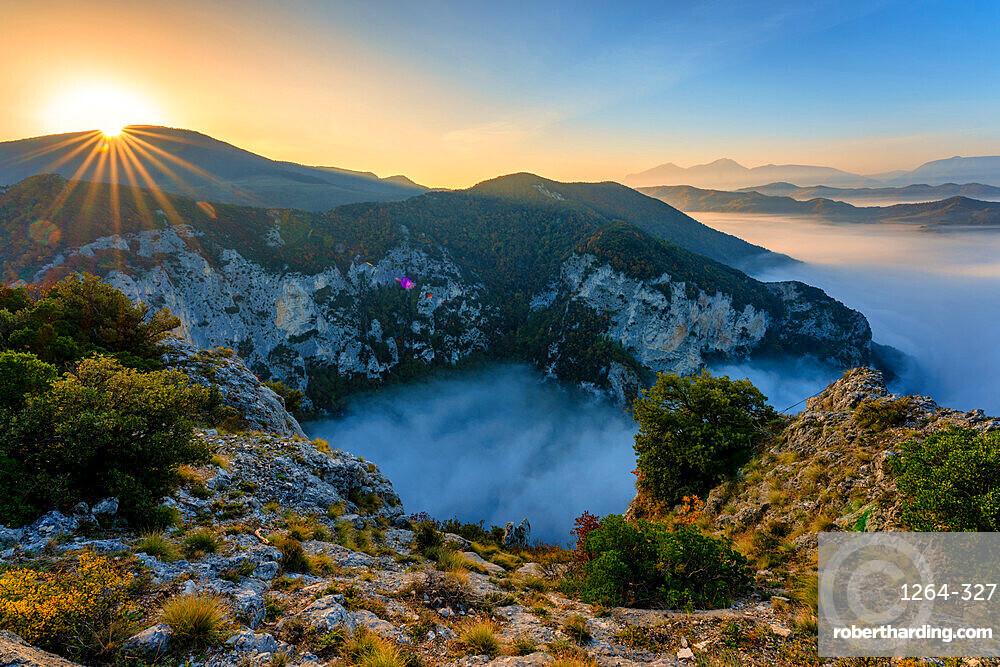River Condigliano in the fog, Furlo Gorge, Marche, Italy, Europe