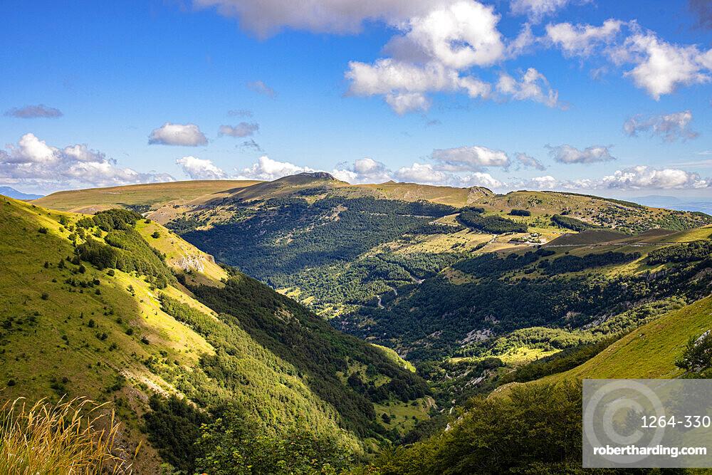 Ambro Valley from Pizzo Acuto, Sibillini Mountain range, Marche, Italy, Europe