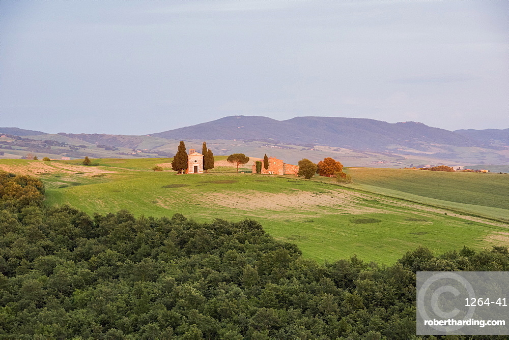 Vitaleta church at sunset, San Quirico,Val d'Orcia (Orcia Valley), UNESCO World Heritage Site, Tuscany, Italy, Europe