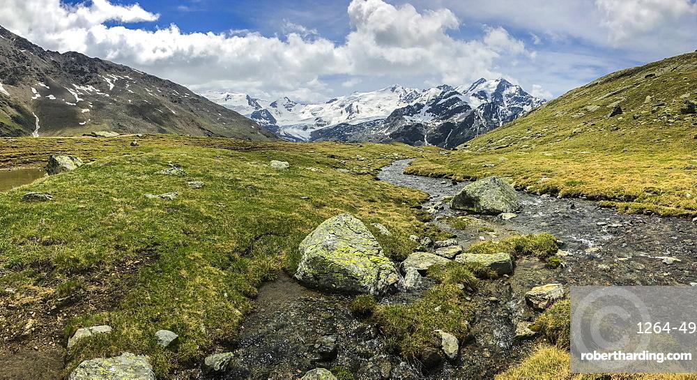 Glacier Forni and alpine river, Valfurva, Lombardy, Italy, Europe