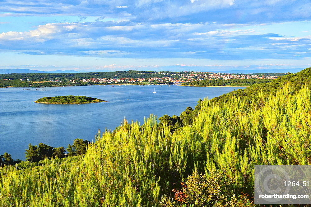 The town of Porer from Mount Kope, Kamenjak National Park, Istria, Croatia, Europe
