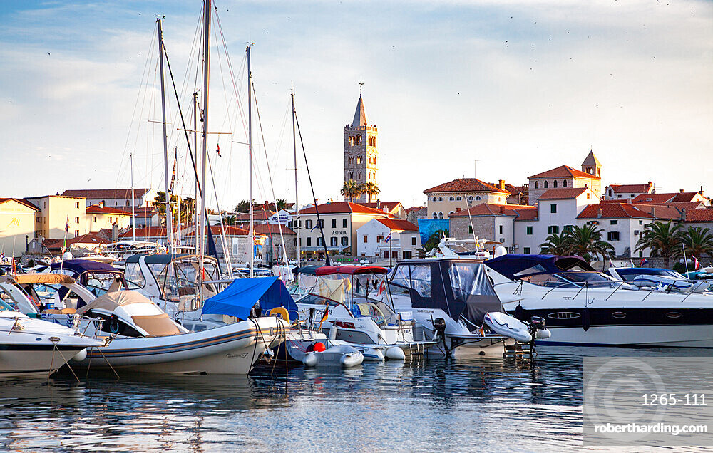 Overview on the port of city of Rab, Croatia, Europe