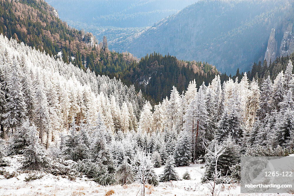 Ceahlau Massif in winter, Eastern Carpathians, Neamt County, Moldavia, Romania, Europe