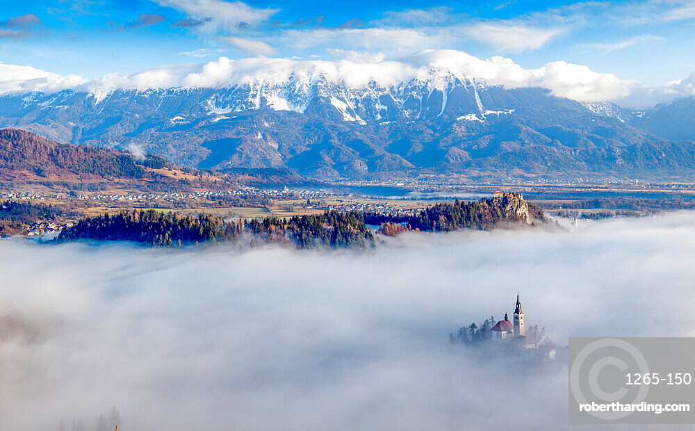 Panorama of Lake Bled in the Julian Alps of the Upper Carniolan region, northwestern Slovenia, Europe