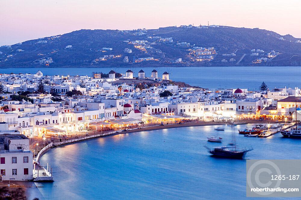 Scenic view over Mykonos town, Mykonos island, Cyclades, Aegean Sea, Greek Islands, Greece, Europe