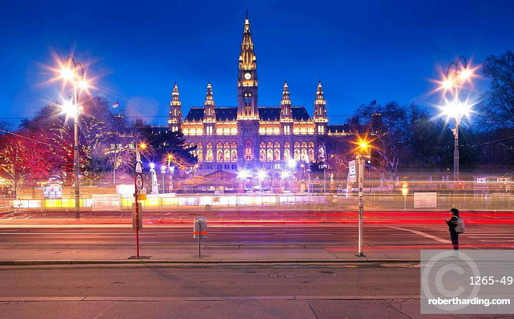 Rathaus Vienna at night, Vienna, Austria, Europe
