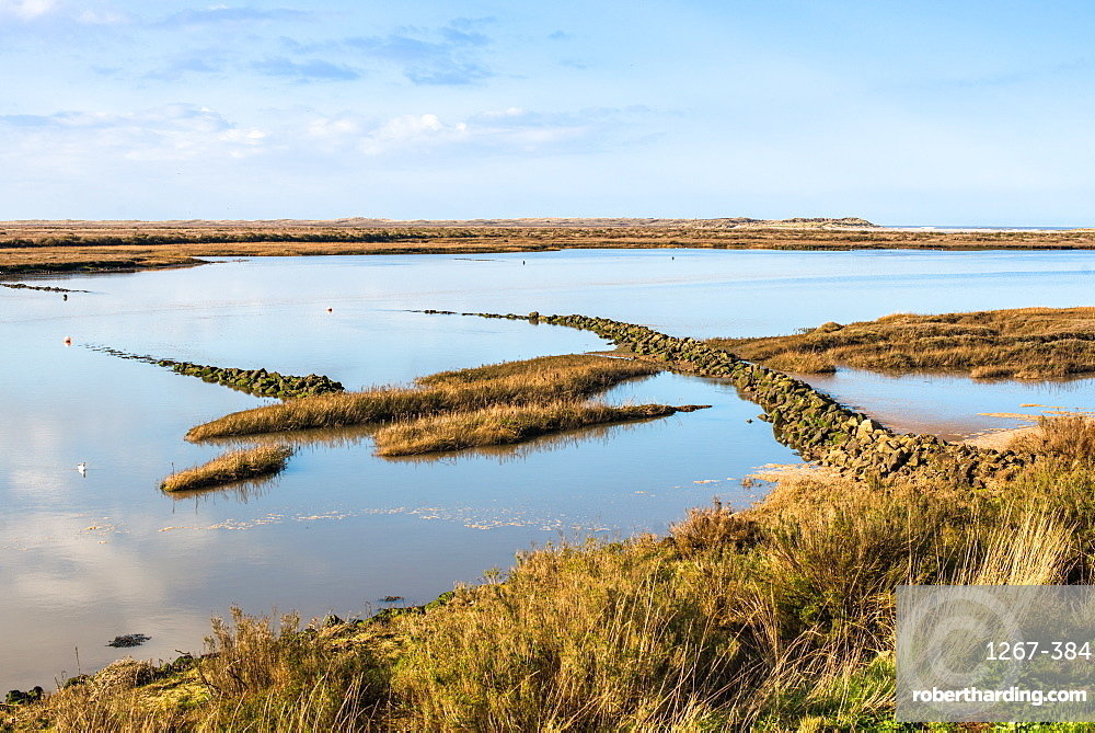 Views as tide comes in, off the Norfolk Coast Path National Trail near Burnham Overy Staithe, Norfolk, East Anglia, England, United Kingdom, Europe