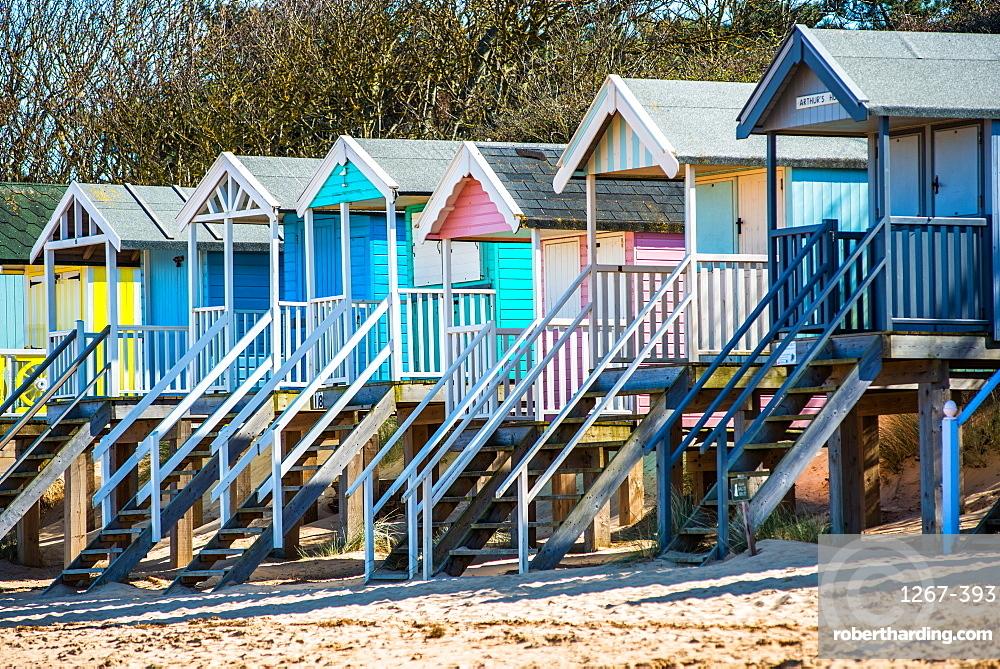 Colourful beach huts on Wells beach at Wells next the Sea on North Norfolk coast, Norfolk, East Anglia, England, United Kingdom, Europe