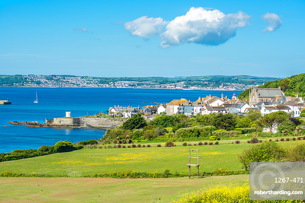 Marazion with Penzance in the distance, Cornwall, England, United Kingdom, Europe