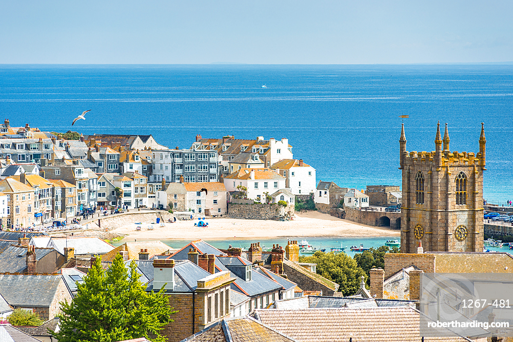 Elevated views over rooftops of St. Ives in Cornwall, England, United Kingdom, Europe