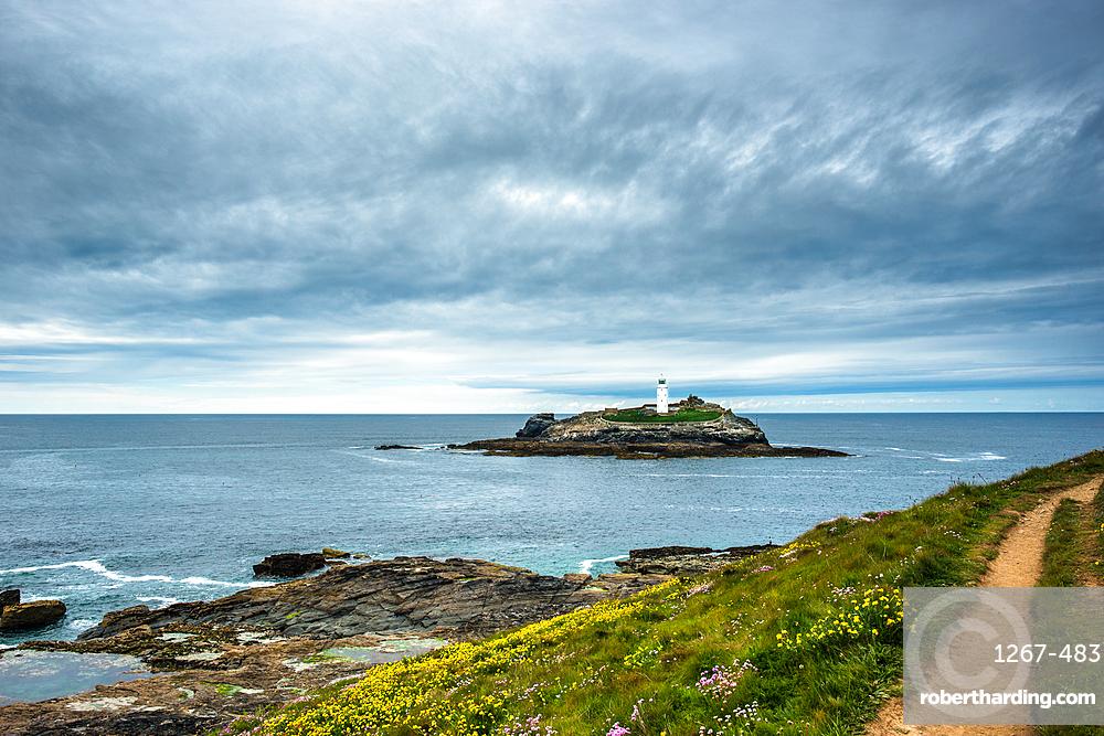 Godrevy Lighthouse on Godrevy Island in St. Ives Bay, Cornwall, England, United Kingdom, Europe