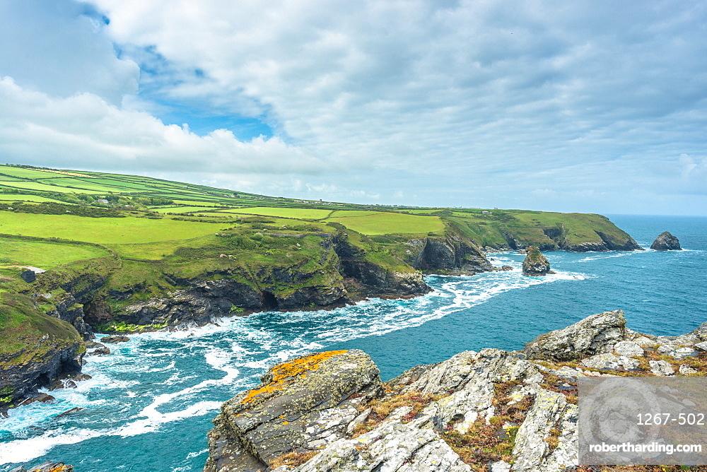 Coastal views from Willapark Lookout near Boscastle on the Atlantic coast of Cornwall, England, UK.
