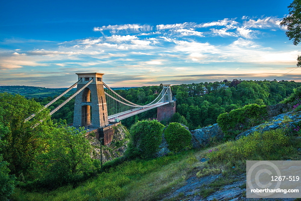 Historic Clifton Suspension Bridge by Isambard Kingdom Brunel spans the Avon Gorge with river Avon below, Bristol, England, United Kingdom, Europe