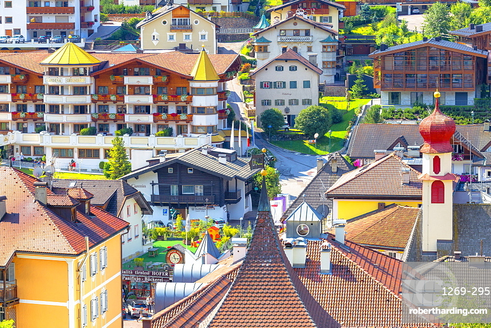 Elevated view of historical center of Ortisei, Gardena Valley, South Tyrol, Dolomites, Italy, Europe