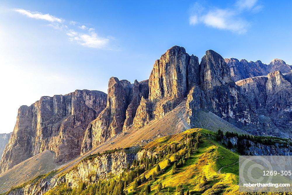 Sella Mountain Range, Gardena Pass, Gardena Valley, South Tyrol, Dolomites, Italy, Europe