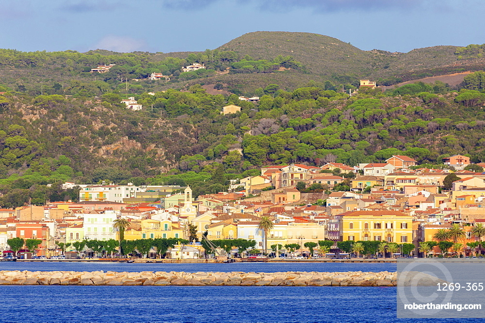 Village of Carloforte from the sea, Carloforte, San Pietro Island, Sud Sardegna province, Sardinia, Italy, Mediterranean, Europe
