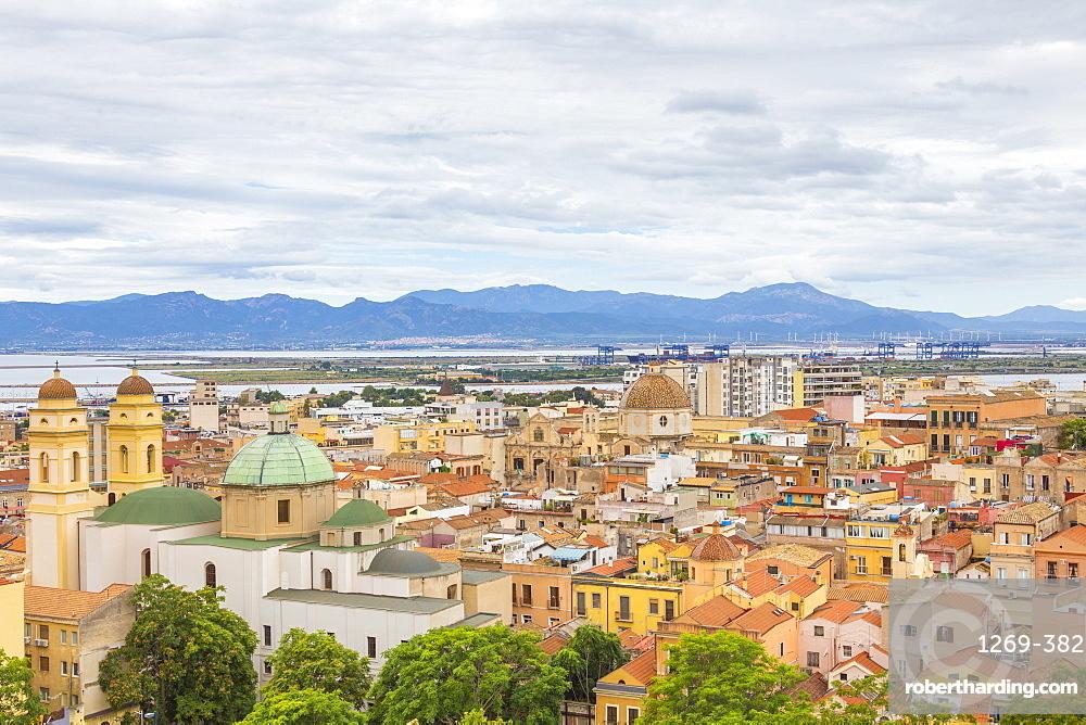 View over the historic center of Cagliari, Cagliari province, Sardinia, Italy, Mediterranean, Europe