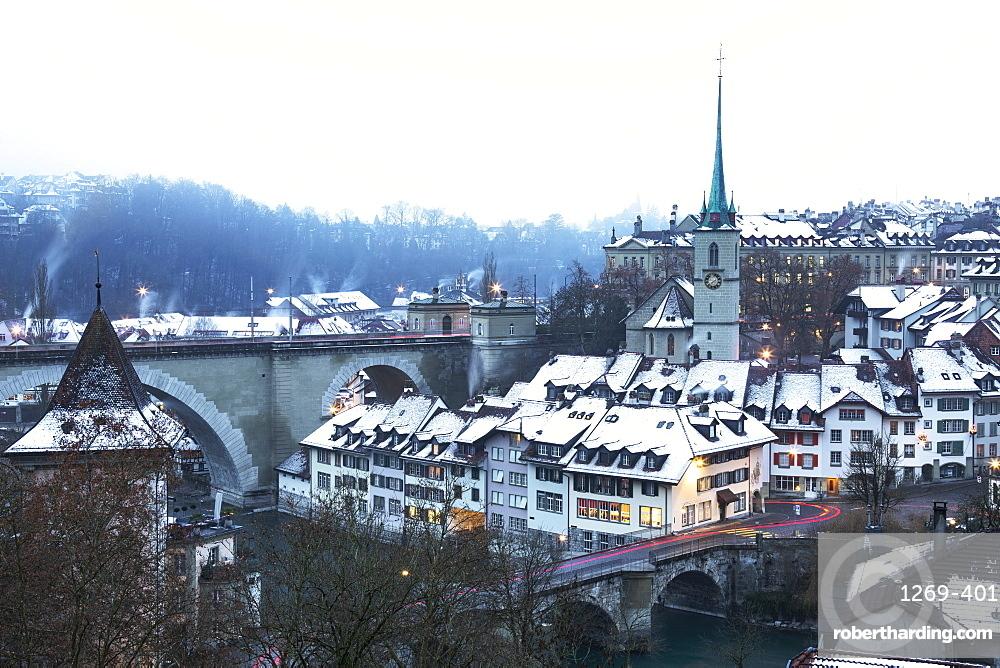 Foggy winter dusk at Bern, Canton of Bern, Switzerland, Europe