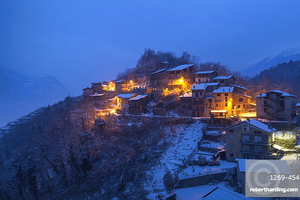 Twilight at the small village of Maroggia, Berbenno di Valtellina, Valtellina, Lombardy, Italy, Europe