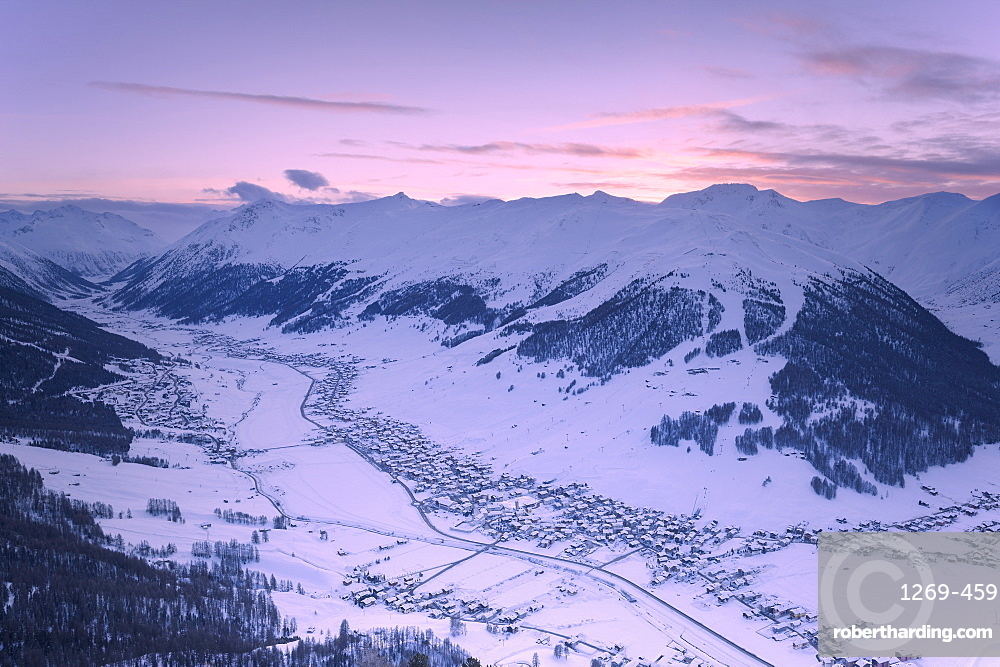 Elevated view of the village at sunset, Livigno, Valtellina, Lombardy, Italy, Europe