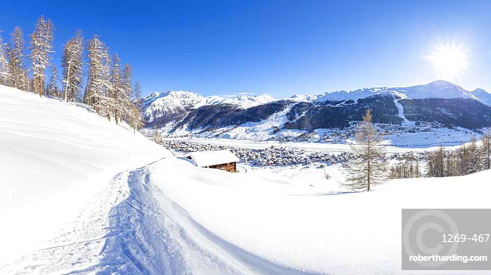 Panoramic view of a winter path with a traditional hut in the winter scenery, Livigno, Valtellina, Lombardy, Italy, Europe