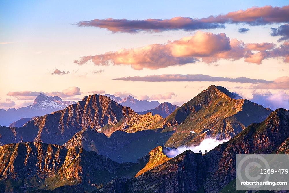 Peaks at sunset, Valgerola, Orobie Alps, Valtellina, Lombardy, Italy, Europe