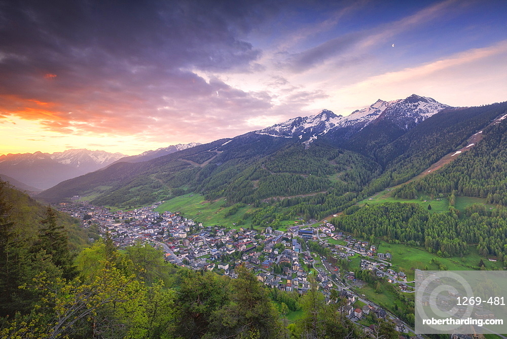 Sunrise on the village from above, Aprica, Orobie Alps, Valtellina, Lombardy, Italy, Europe