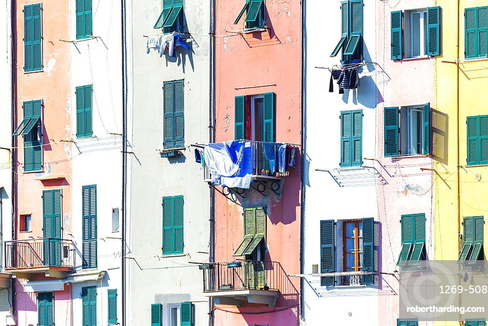 Detail of traditional houses of Porto Venere, Cinque Terre, UNESCO World Heritage Site, Liguria, Italy, Europe