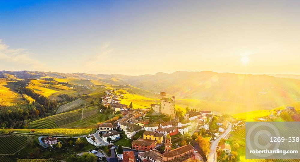 Aerial view of Serralunga d'Alba at sunset. Barolo wine region, Langhe, Piedmont, Italy, Europe.