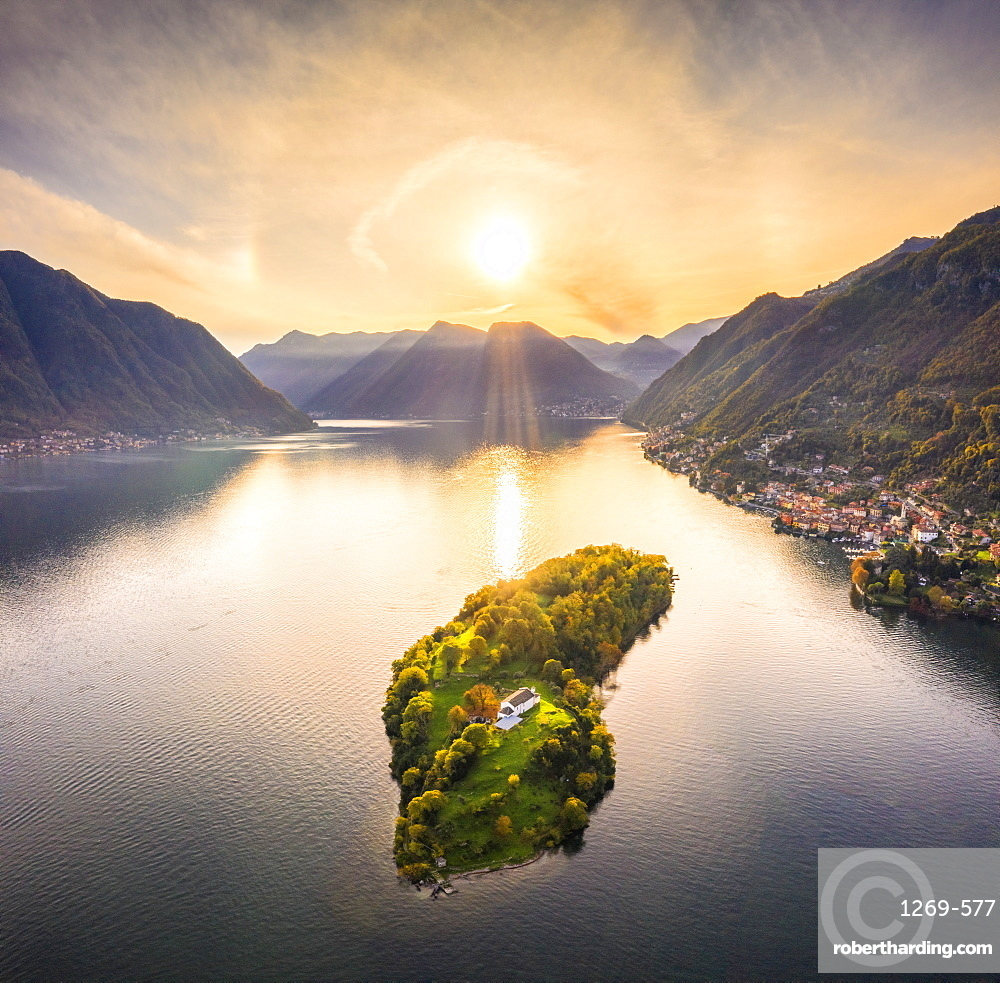 Aerial view of Comacina Island at sunset, Lake Como, Lombardy, Italian Lakes, Italy, Europe