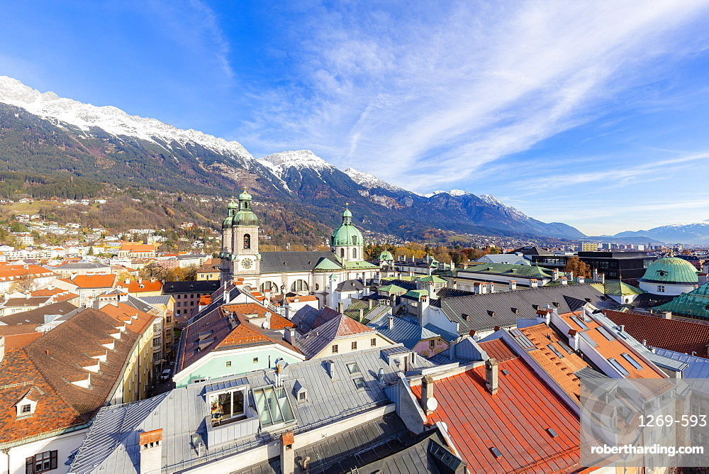 Cathedral of St. James from above, Innsbruck, Tyrol, Austria, Europe