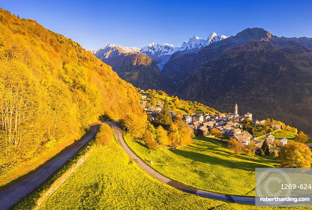 Aerial view of Soglio in autumn, Soglio, Bregaglia valley, Graubunden, Switzerland, Europe