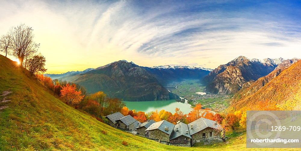 Panoramic view of the old village of chalets, Valchiavenna, Valtellina, Lombardy, Italy, Europe
