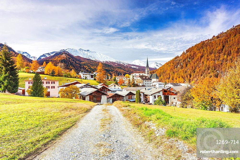 Traditional Swiss village called Santa Maria in Val Mustair, Canton Graubunden, Switzerland, Europe