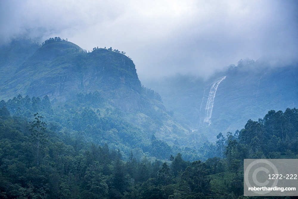 Waterfall in the Western Ghats Mountains, Munnar, Kerala, India, Asia