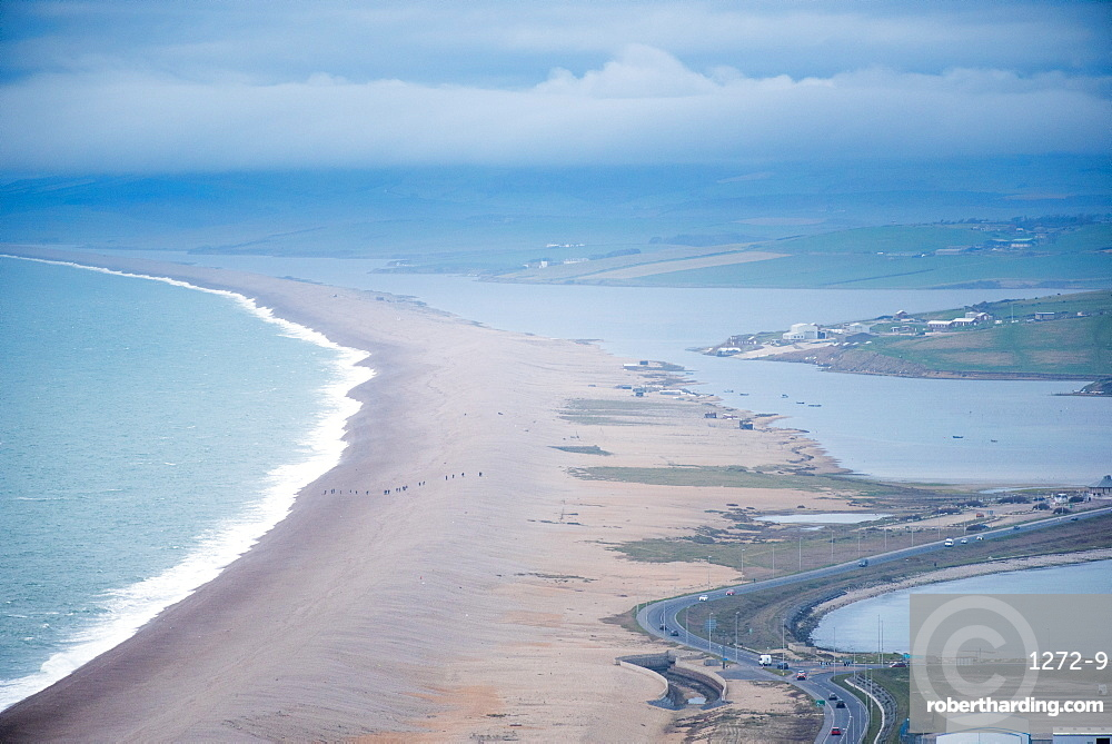 View of Chesil Beach from the Isle of Portland, looking at Weymouth, Jurassic Coast, UNESCO World Heritage Site, Dorset, England, United Kingdom, Europe