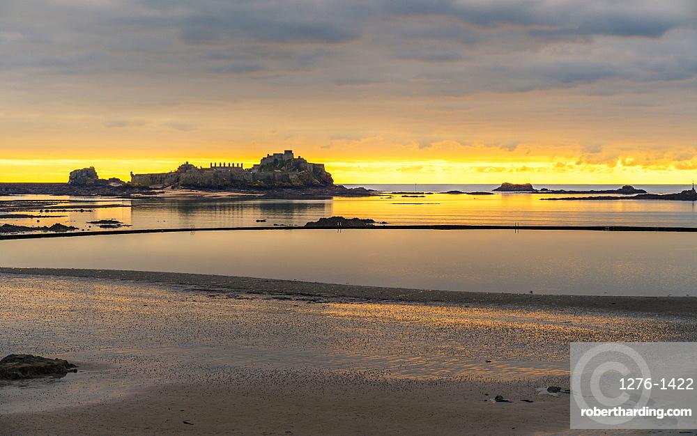 Elizabeth Castle at sunset, Jersey, Channel Islands, United Kingdom, Europe