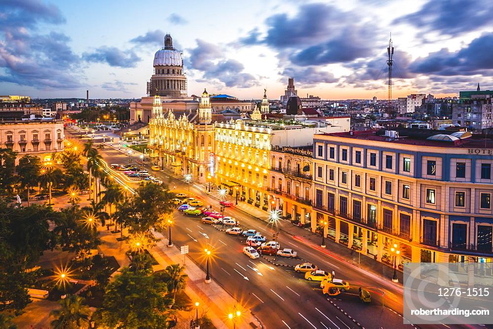 The Gran Teatro de La Habana and El Capitolio at sunset, Havana, Cuba, West Indies, Caribbean, Central America