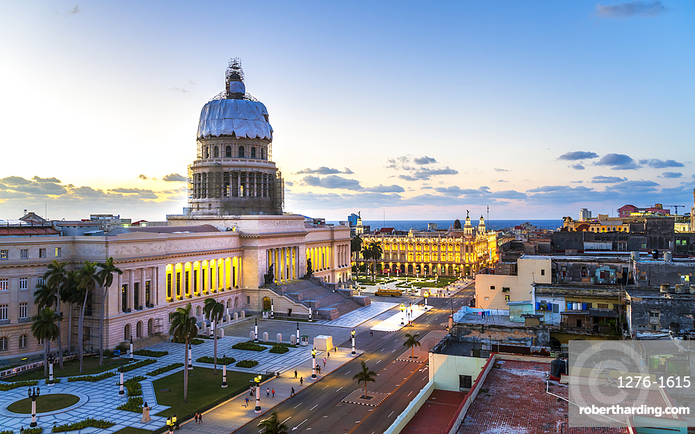 Aerial view the Gran Teatro de La Habana and El Capitolio at dusk, UNESCO World Heritage Site, Havana, Cuba, West Indies, Caribbean, Central America