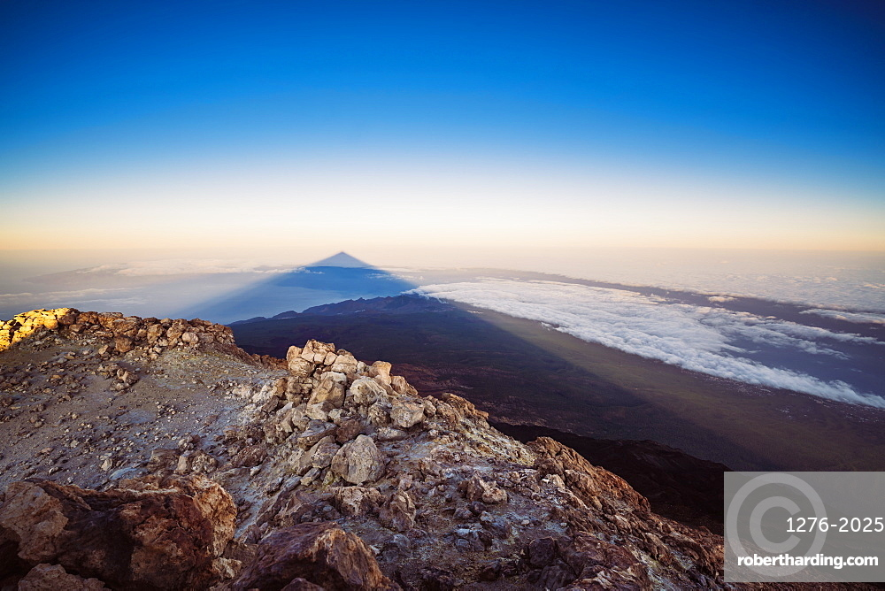 View of El Teide volcano shadow from the summit at sunrise, El Teide national park in Tenerife, Canary Islands, Spain, Europe