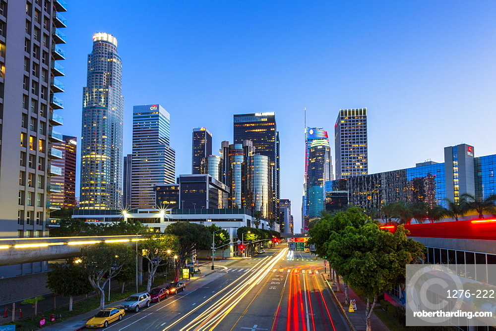 Downtown financial district of Los Angeles city at night, Los Angeles, California, United States of America, North America