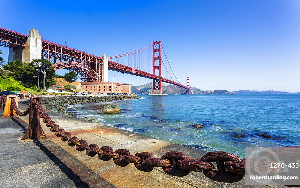 View of Golden Gate Bridge and Fort Point from Marine Drive, San Francisco, California, United States of America, North America