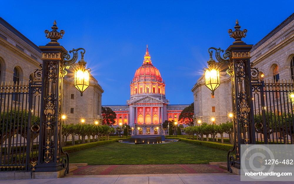 View of San Francisco City Hall illuminated at dusk, San Francisco, California, United States of America, North America