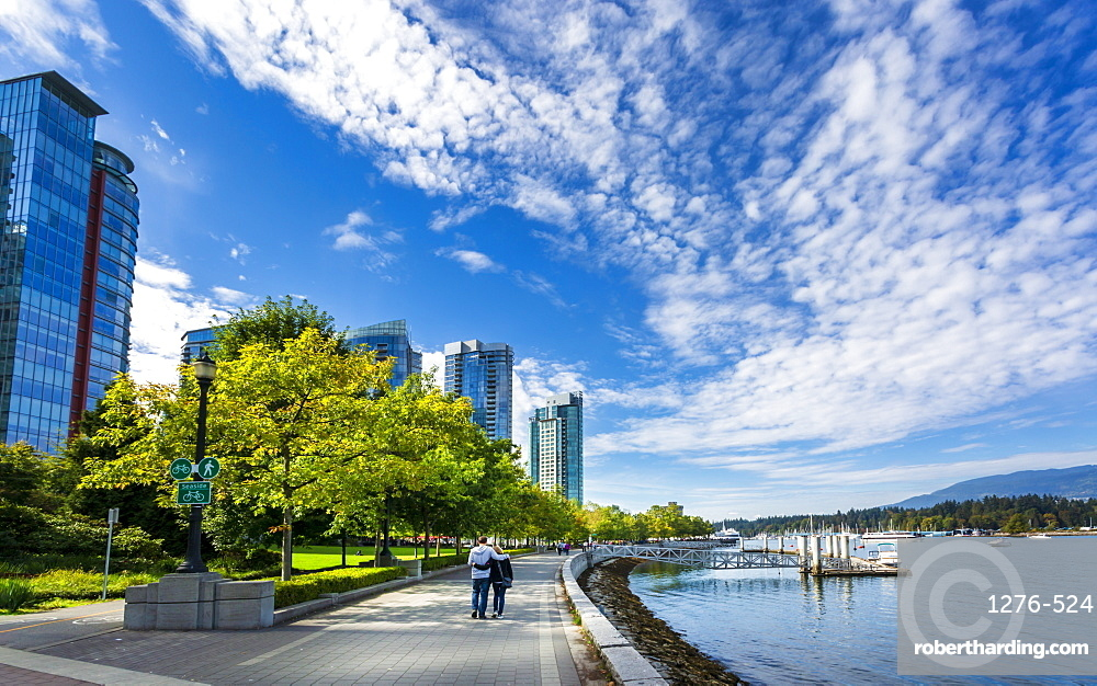 Sea Wall Walk overlooking Vancouver Harbour near the Convention Centre, Vancouver, British Columbia, Canada, North America