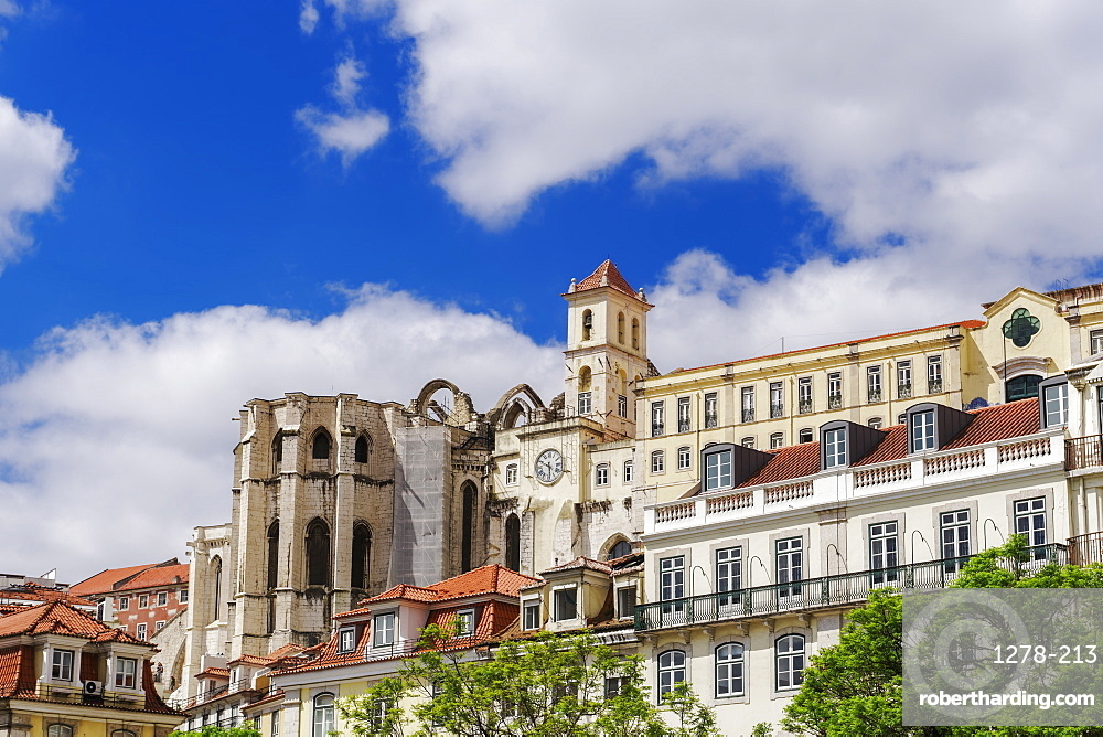 Carmo Convent apse and surrounding buildings, seen from Rossio Square, Lisbon, Portugal, Europe