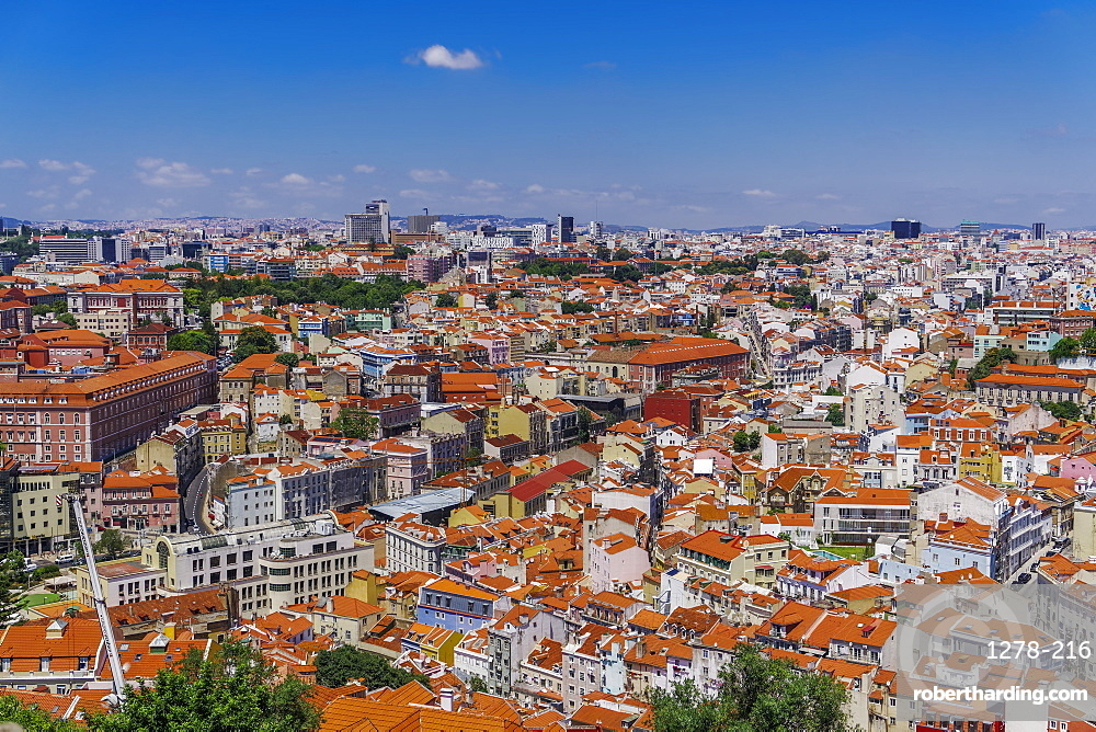 Northern suburbs day view, panoramic landscape view of capital, seen from Saint George castle, Lisbon, Portugal, Europe